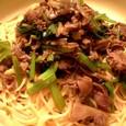 牛肉と小松菜のパスタ。